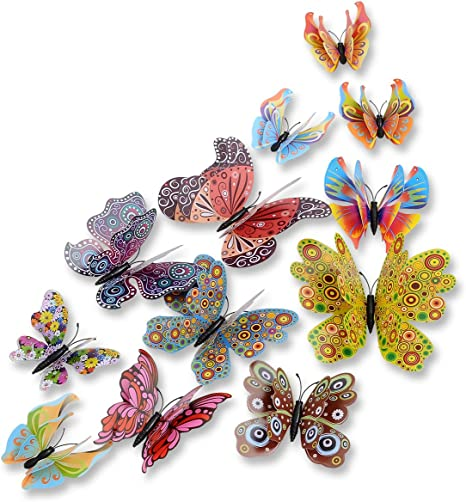 12pcs Double-sided Adhesive Wall Stickers 3D Simulation Butterfly Wall Art Decal
