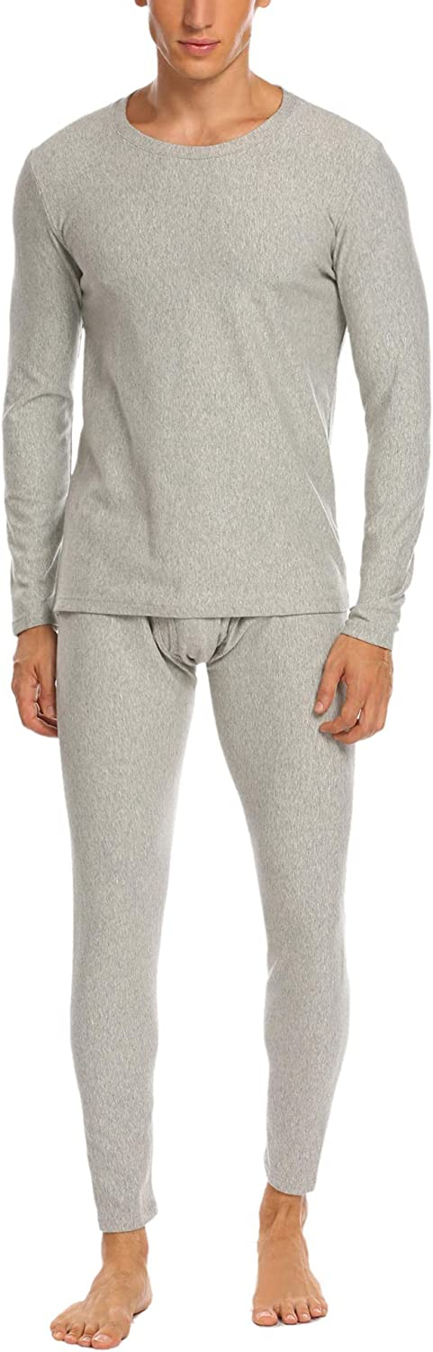 Ekouaer Mens Thermal Underwear Long Johns Set Cotton Base Layer Top & Bottom Plus Size S-XXXL