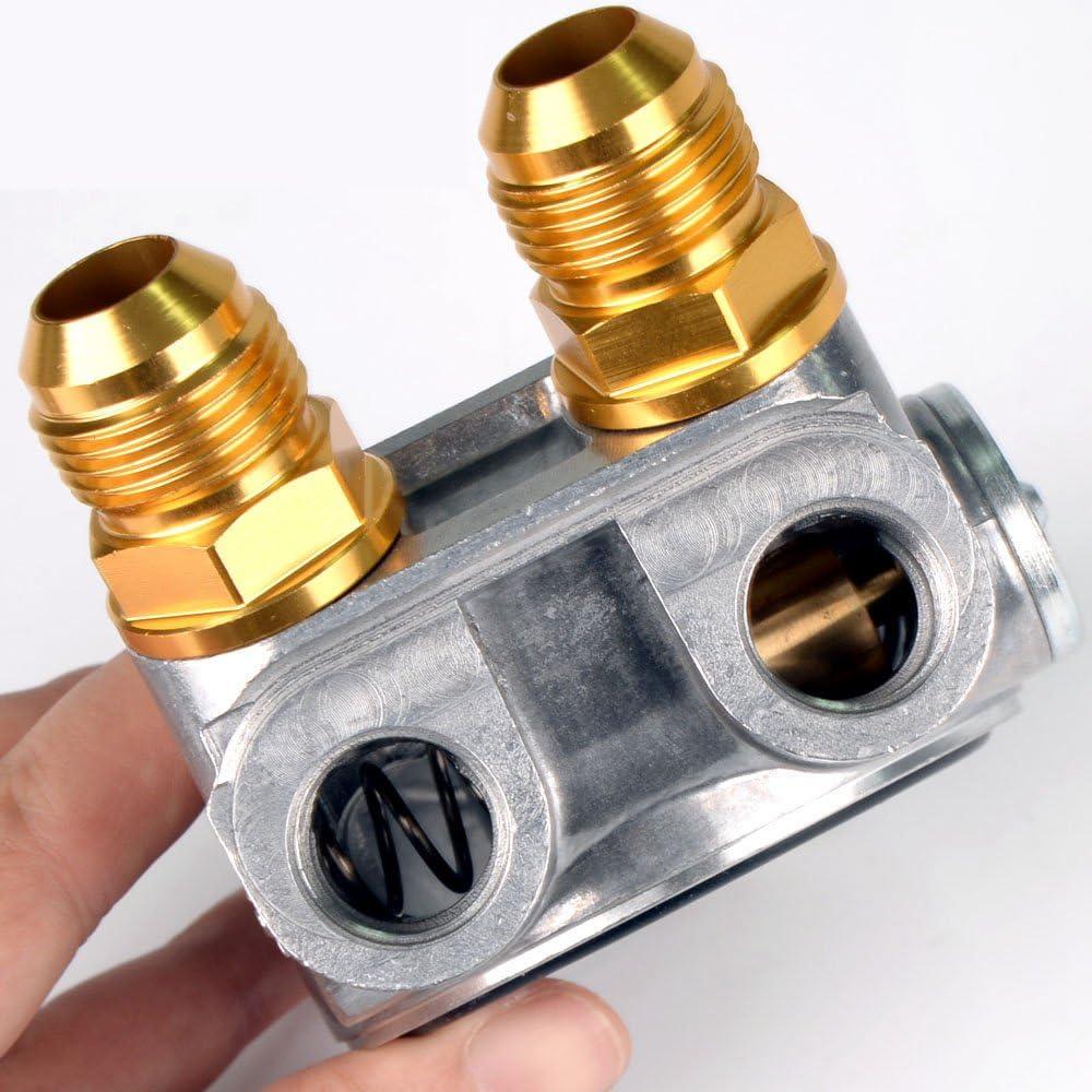 AN10 Oil Line Oil Filter Cooler Sandwich Adapter Thermostat w//80 Deg 176 F Kit