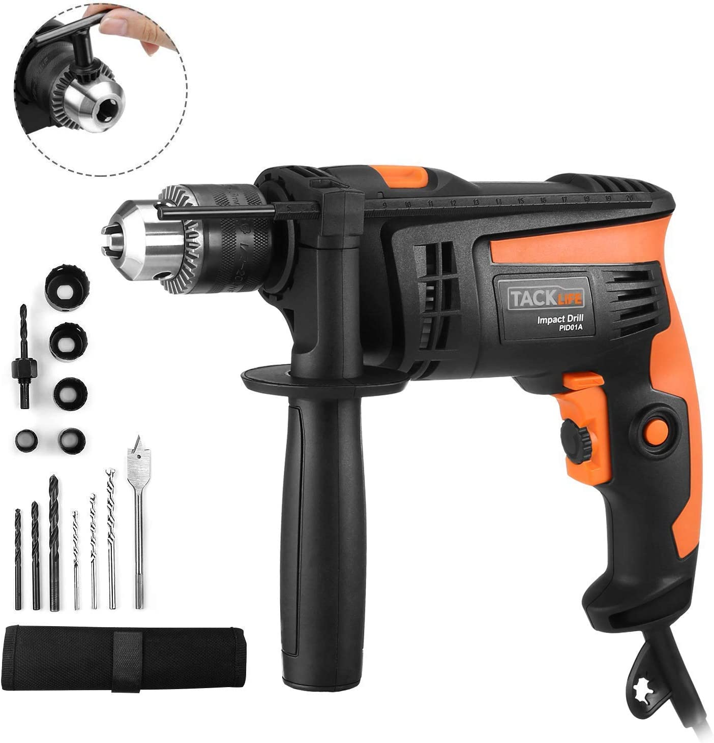 Hammer Drill, TACKLIFE 1/2-Inch Electric Drill, 2800 RPM, Hammer & Drill 2 Modes in 1, Keyed Chuck, 360°Rotating Handle, 12 Pcs Accessories Set, For Brick, Wood, Steel, Masonry - PID01A
