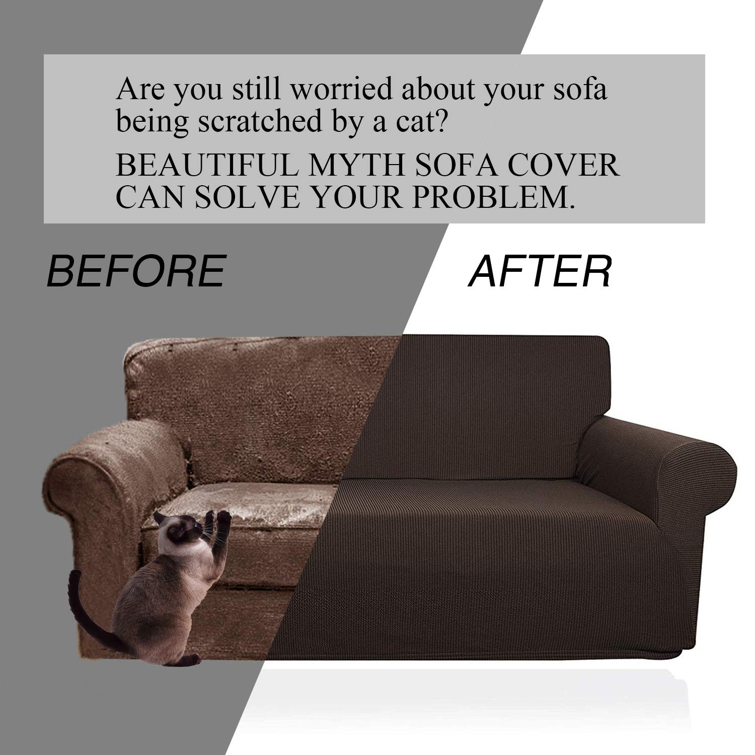 Beautiful Myth Armchair Slipcover Small Checks Knitted Jacquard Sofa Chair Covers Stretch Couch Slipcover Sofa Protection for Living Room Bedroom Dark Brown, Chair