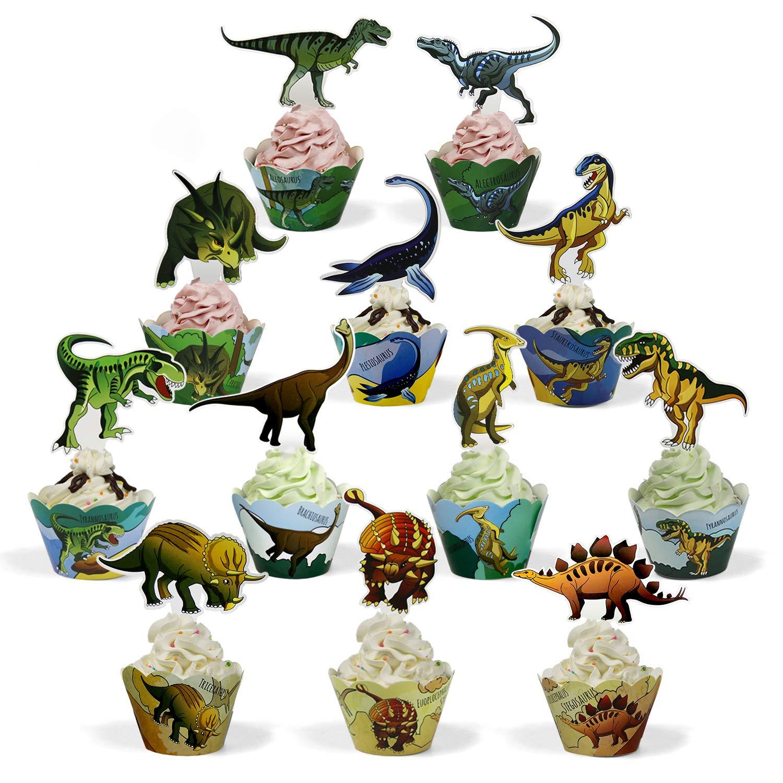Kuchen BeeGreen Dinosaurier Kindergeburtstag Cupcake Toppers Wrappers 24 Pack Kuchendeko Cake Torten Muffin Decoration Kinder Party Deko f/ür Jungs Dino Geburtstagsparty