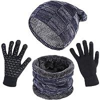 Opret Gorro Bufanda Guantes Set de Invierno para Hombre y Mujer, Unisex Gorras de Punto y Bufanda con Felpa y Guantes Tactiles
