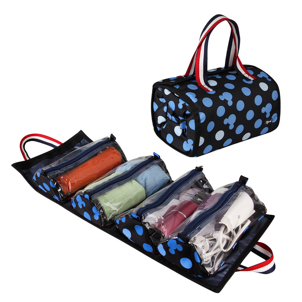 Jovilife 4 in 1 Hanging Roll up Makeup Bag, Travel toiletries Bag Organizer - 4 Kit Removable Toiletry Bags for Men and Women, Mickey Blue