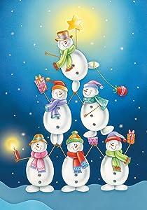 Toland Home Garden Snowman Pyramid 28 x 40 Inch Decorative Winter Christmas Present Holiday Star House Flag - 100562