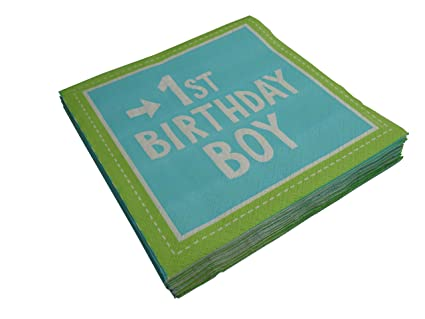 40 x khevga Servilletas 1. Cumpleaños Niño Azul para ...