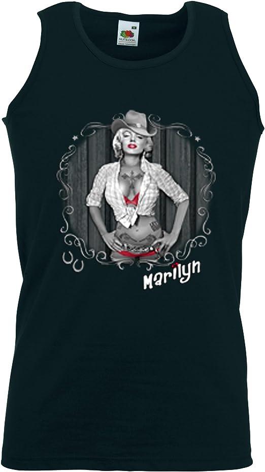 Western Tank Top Camiseta muscular Cowboy Marilyn 2 Cowgirl Rockabilly negro medium: Amazon.es: Ropa y accesorios