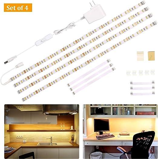 Wobane Under Cabinet Lighting Kit,Flexible LED Strip Lights Bar,Under  Counter Lights for Kitchen,Cupboard,Desk,Monitor Back,Shelf,6.6 Feet Tape  Light ...