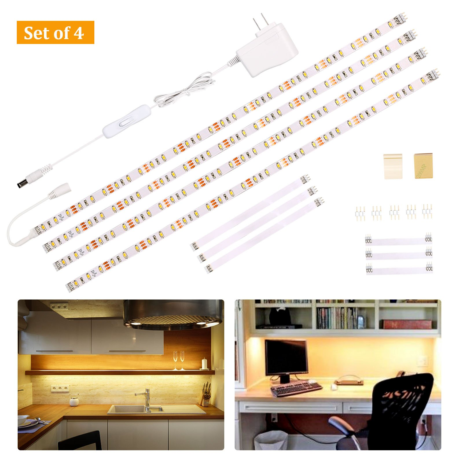 Wobane Under Cabinet Lighting Kit,Flexible LED Strip Lights Bar,Under Counter Lights for Kitchen,Cupboard,Desk,Monitor Back,Shelf,6.6 Feet Tape Light Set,UL Listed,120 LEDs,1100lm,2700K WarmWhite by WOBANE