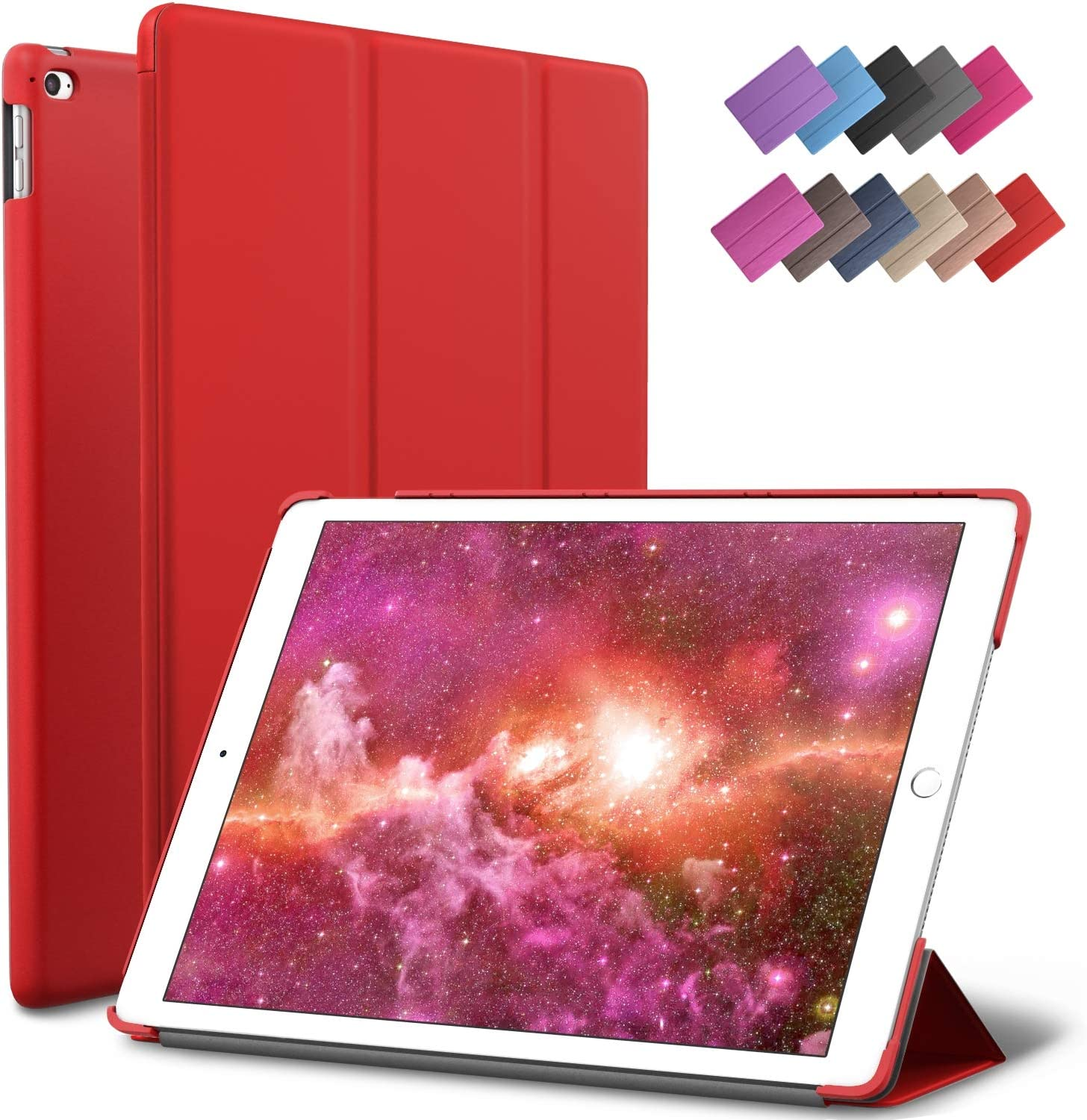 ROARTZ iPad Mini 4 case, Red Slim Fit Smart Rubber Coated Folio Case Hard Cover Light-Weight Auto Wake/Sleep for Apple iPad Mini 4th Generation Model A1538/A1550 Retina Display
