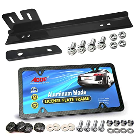 USA SKULL # 1 FIL 2 Black Billet Aluminum License Plate Frame Tag Bolts