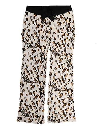 509e1b650766 Joe Boxer Womens Plush Ivory Leopard Print Sleep Pants Pajama Bottoms Small