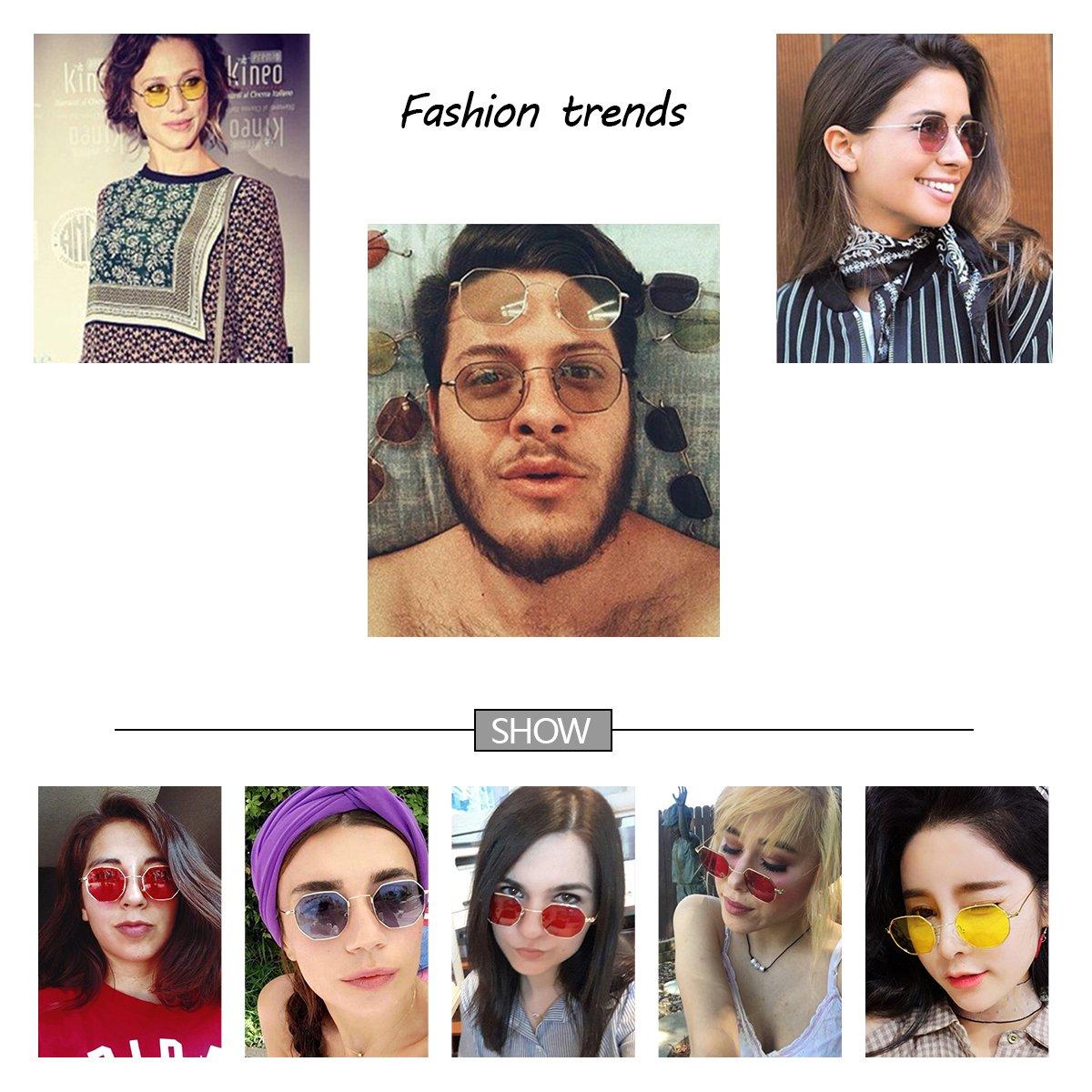 Sunglasses for women RAYSUN Small Metal Frame Asymmetry Temple Unisex Square Oval Non-polarized Sun Glasses