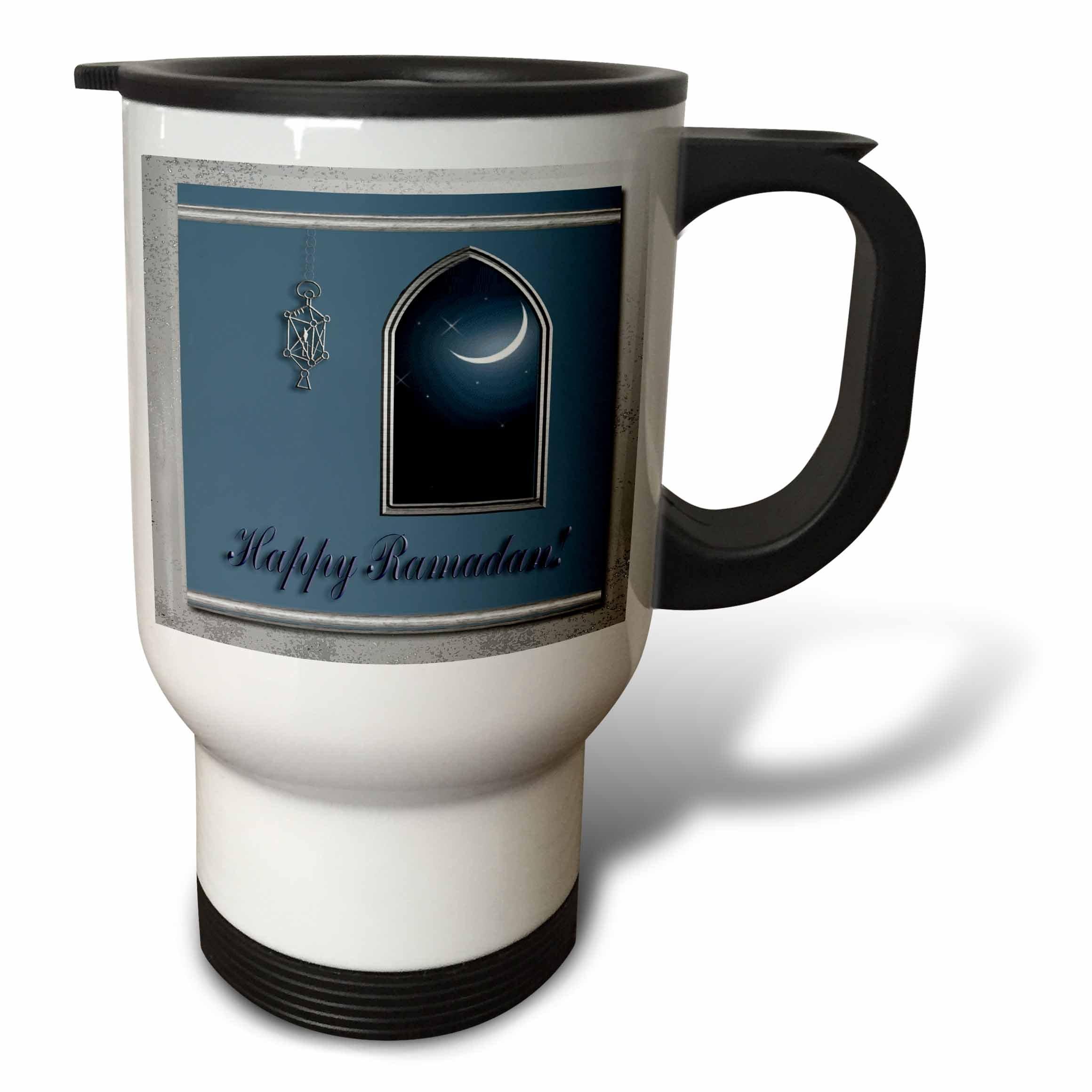 3dRose Ramadan Lantern with Moon in The Window Stainless Steel Travel Mug, 14-Ounce