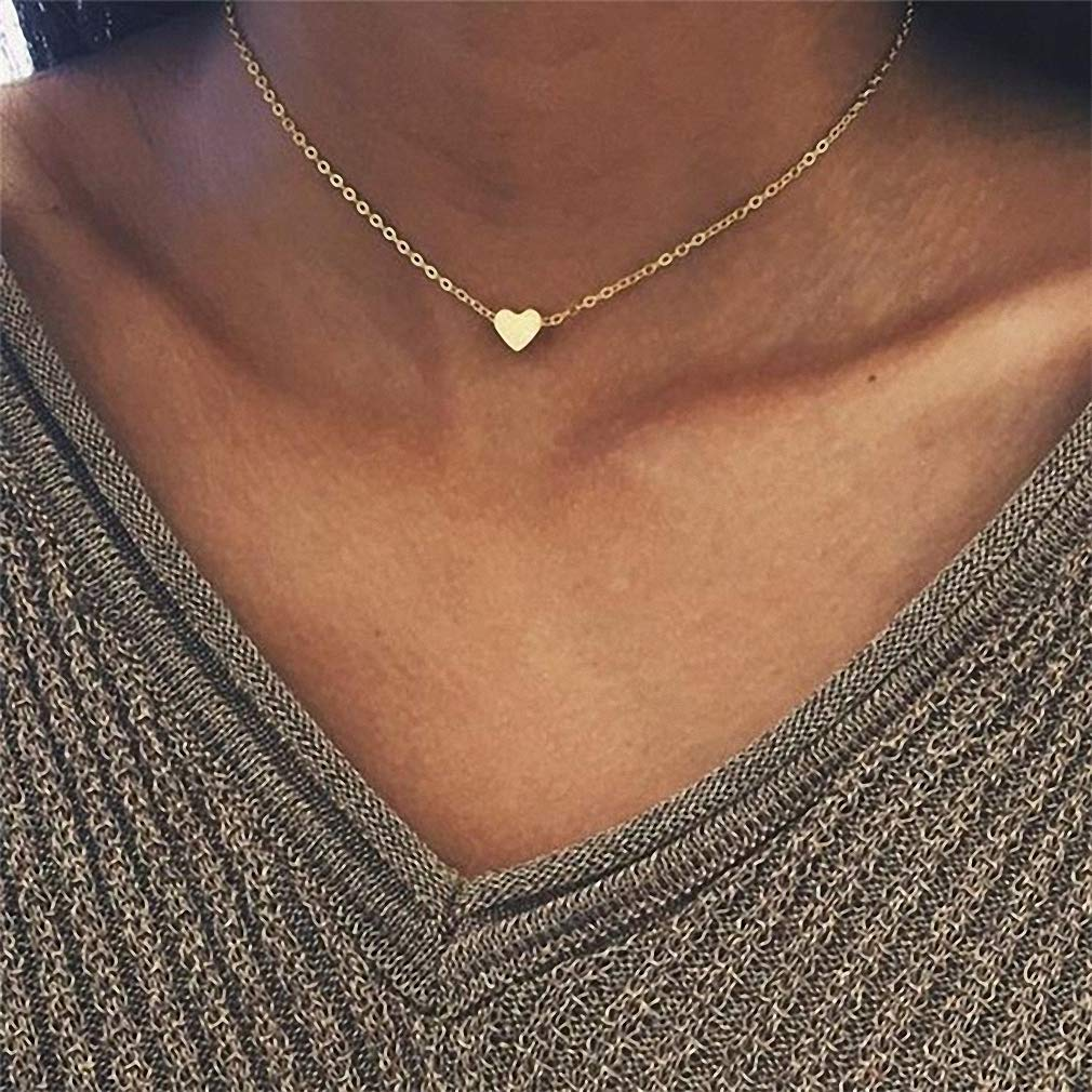 Tebapi Womens Pendant Necklaces Small Heart Delicate Initial 3 Layer Necklace Initial Necklace Personalized Necklace Friend Gift