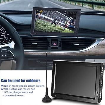 Richer-R 10 Inch Televisión Portátil con Soporte y 12V Cargador de Coche,HDMI TV Digital para Coche/al Aire Libre,Soporta USB/TF (10 Pulgadas,1024 x 600,1080P) (Negro(Enchufe de UE)): Amazon.es: Electrónica