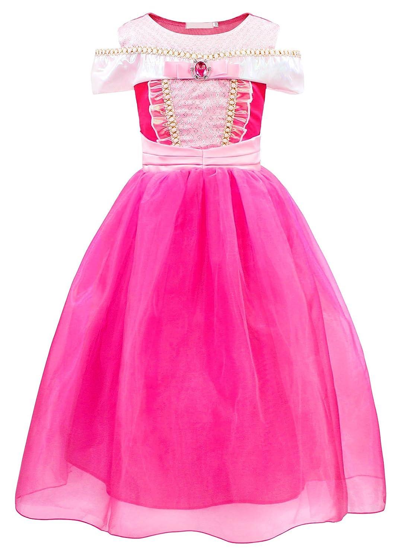 AmzBarley Aurora Dress Costume Girls Princess Birthday Party Kids Clothes G013-CA
