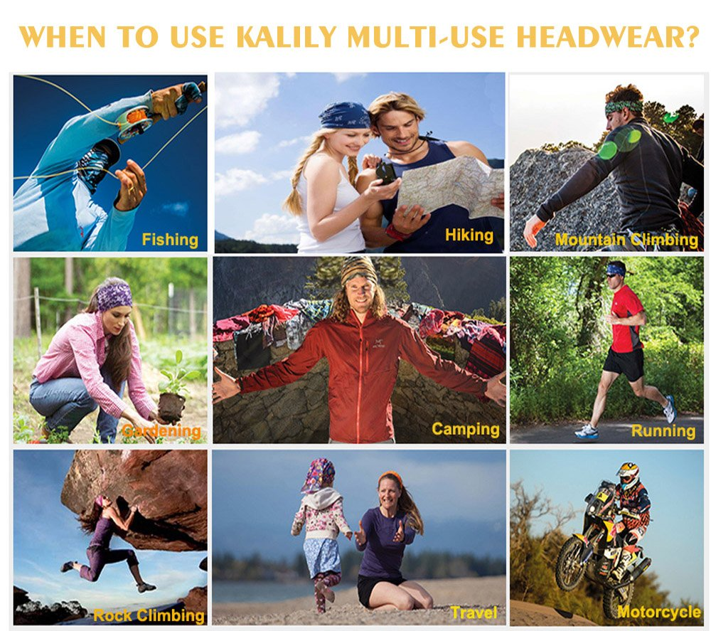 KALILY 9PCS Headband Bandana - Versatile PAISLEY Sports   Casual Headwear –Multifunctional  Seamless Neck Gaiter 299fcb45a1a1