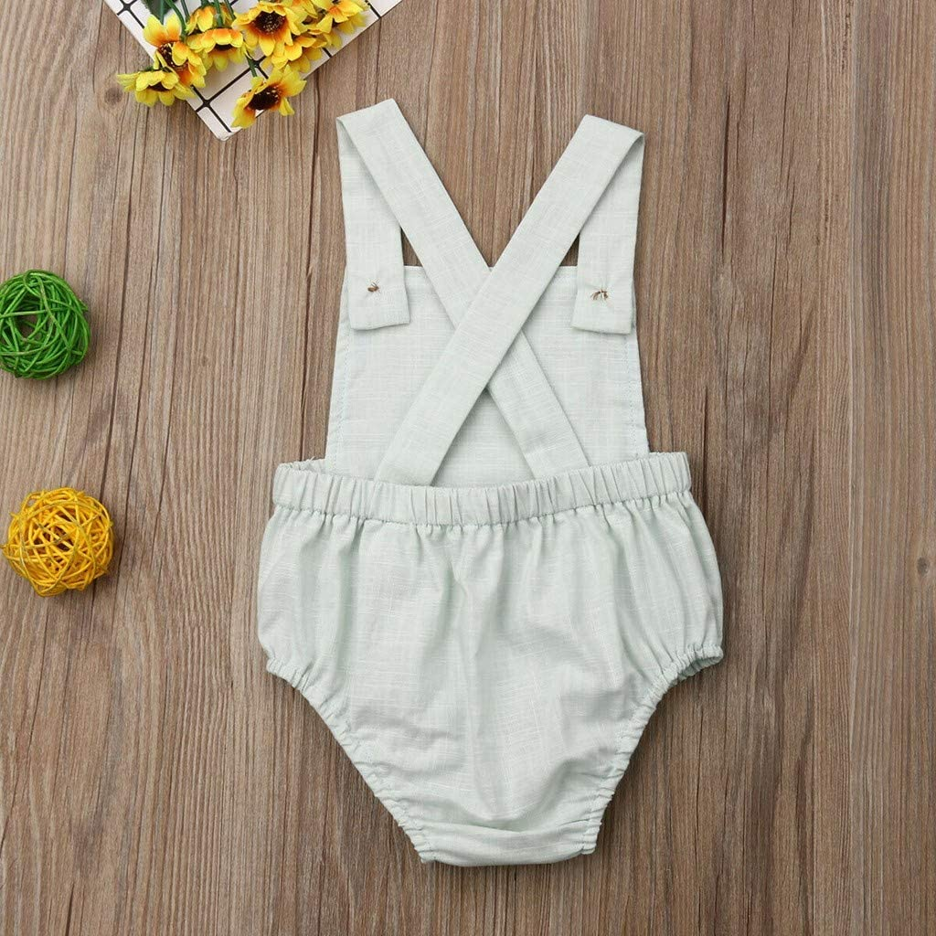 wuayi  Baby Bodysuit Baby Boys Girls Pure Color Button Sleeveless Romper Overall Onesies Jumpsuit 0-3 Years