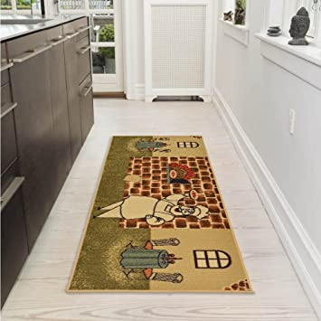 Ottomanson Sarau0027s Kitchen Chef Design Mat Runner Rug With Non Skid (Non Slip