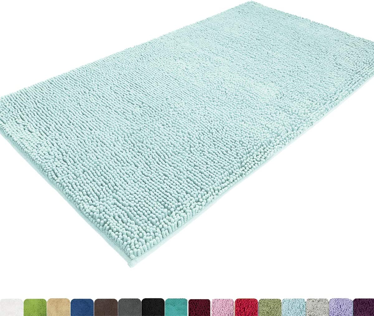 MAYSHINE Absorbent Microfiber Chenille Door Mat Runner for Front Inside Floor Doormats, Quick Drying, Washable-31x59 Inches Spa Blue