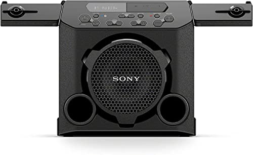 Sony GTK-PG10 Portable Bluetooth Speaker Wireless Indoor Outdoor Bluetooth Speakers – Compact Party Stereo System with Cup Holders – Travel Speaker with FM Radio Tuner, Microphone Jack, USB Port