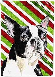 Caroline's Treasures SC9320GF Boston Terrier Candy Cane Holiday Christmas Flag Garden Size, Small, Multicolor