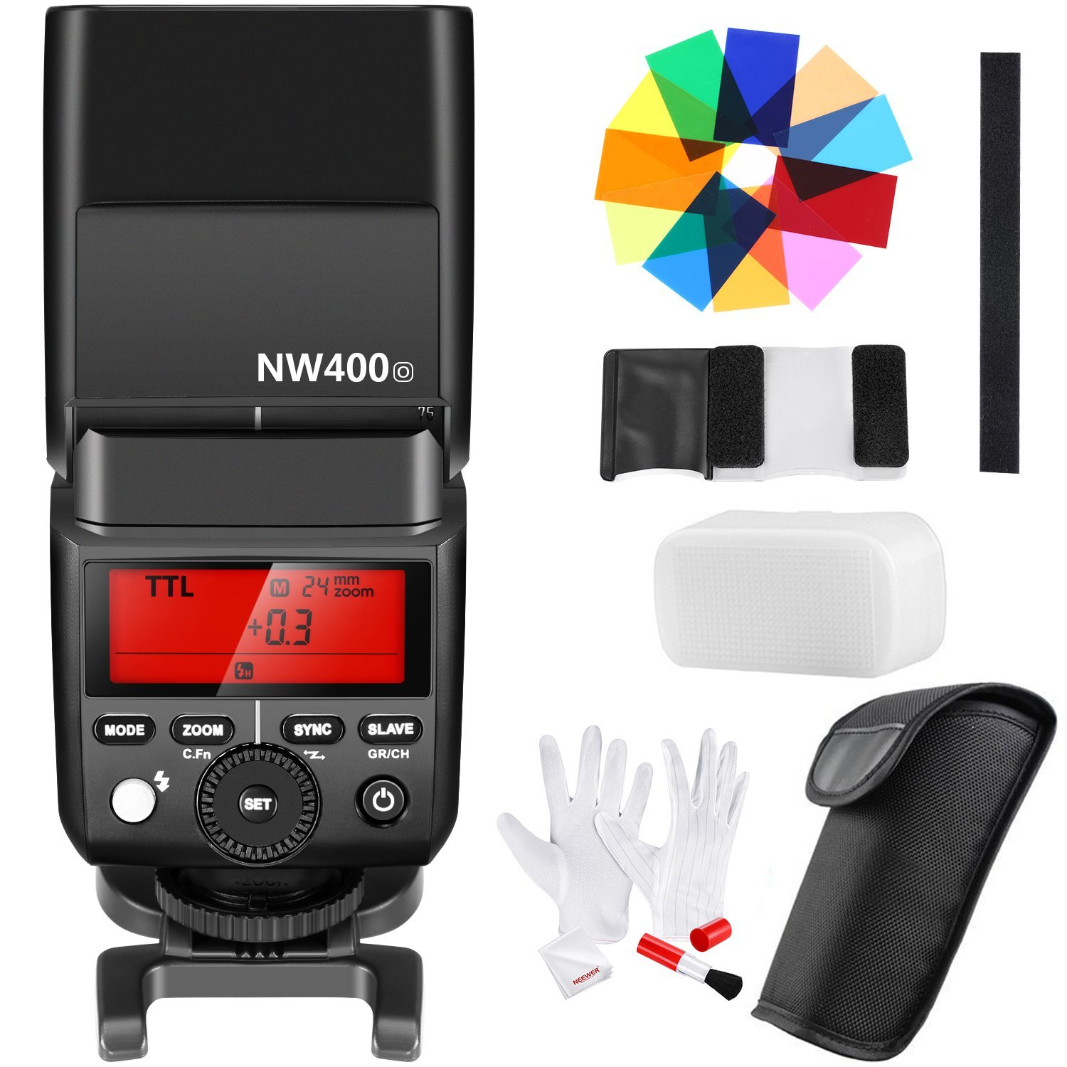 Neewer Master Slave Speedlite Flash(2.4G Wireless TTL HSS 1/8000s) with 12-Piece Color Filters and 3-in-1 Cleaning Kit for Olympus E-M10II M1 E-PL8 PL7 PL6,Panasonic DMC-GX85 G7 GF1 LX100 G85(NW400o) by Neewer