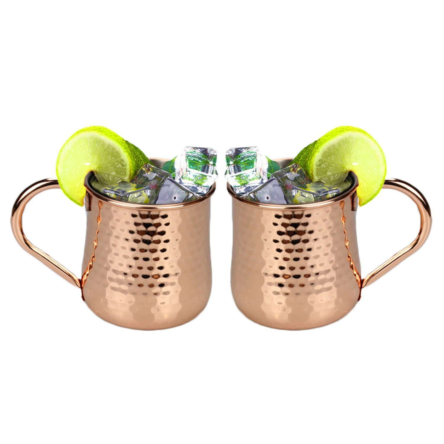 HUAYIN Pure Copper Moscow Mule Cup, no coating, inside nickel, hammered copper mugs, ideal for keeping all chilled drink dazzling to entertain and bar or at home, great bar gift (450ML)