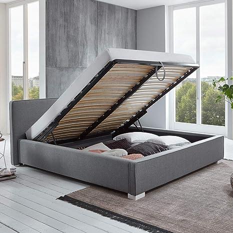 Bett Mit Bettkasten Grau Niedrigem Kopfteil Simple Polsterbett Lattenrost Stauraum Doppelbett 140 X 200 Cm