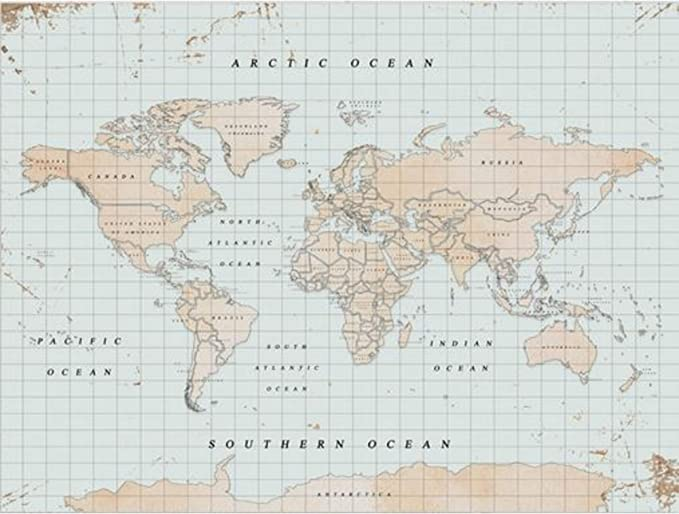 Miss Wood Watercolor Vintage Mapa de Corcho, Madera, Multicolor, XL (60 x 90 cm): Amazon.es: Hogar