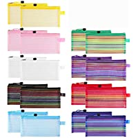 20 Pack Zipper Mesh Pouch, Sooez Plastic Pencil Pouches Pen Bags Multipurpose Travel Bags for Office Supplies Cosmetics…