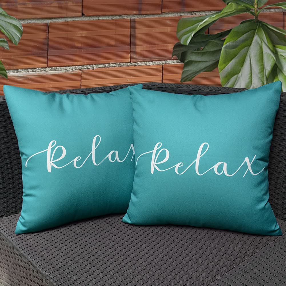 KRINGSIA Pack of 2, Relax Outdooor Waterproof Throw Pillow Covers, Square Decorative Garden Cushion Case with Quotes & Sayings for PatioTent Couch (18x18 inch, Turquoise)