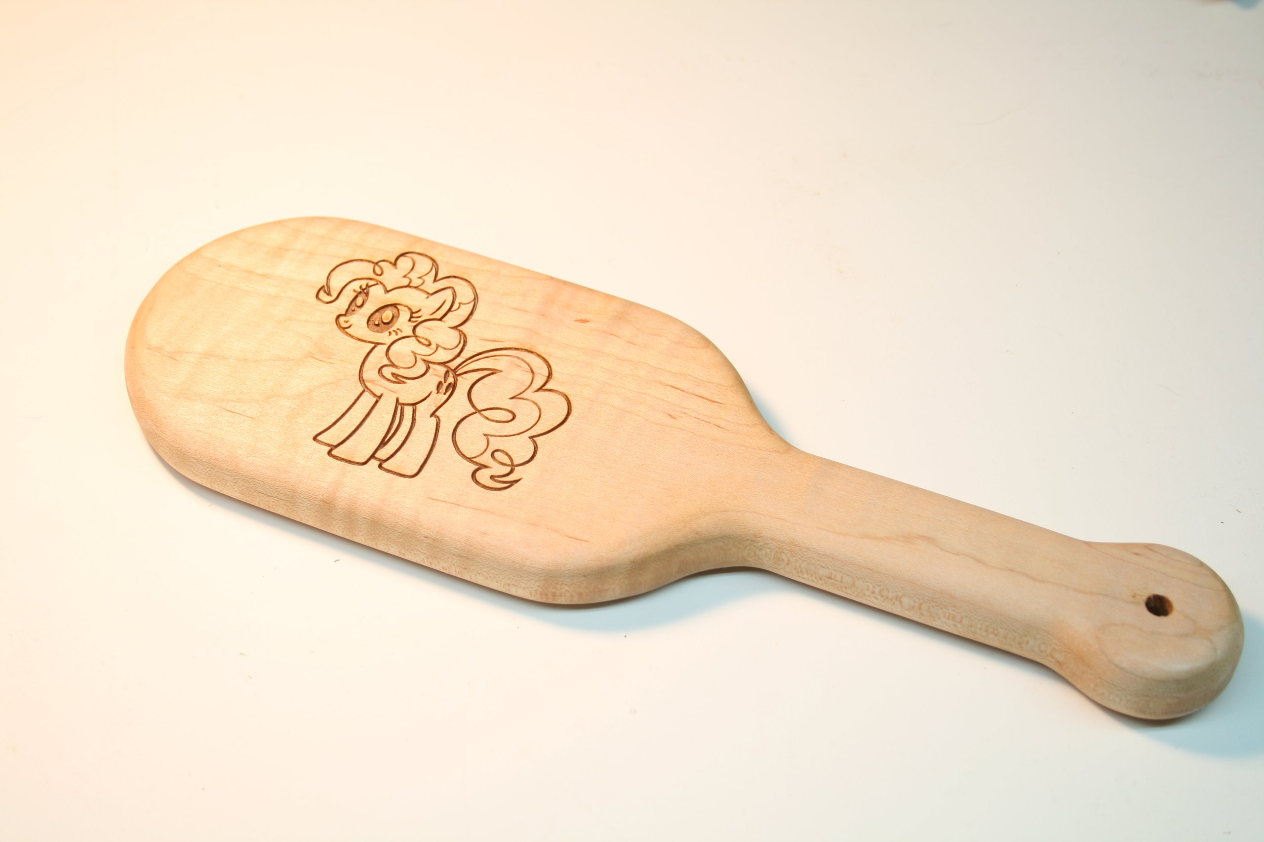Laser Engraved Pinkie Pie BDSM Spanking Paddle in Maple Fetish BDSM Sex Gear by The Kink Factory USA