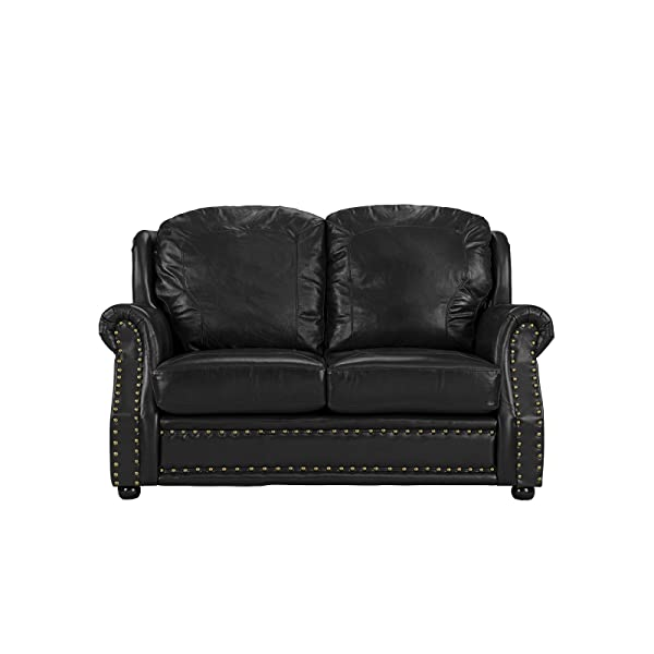 Leather Match Sofa 2 Seater, Living Room Couch Loveseat with Nailhead Trim (Black)