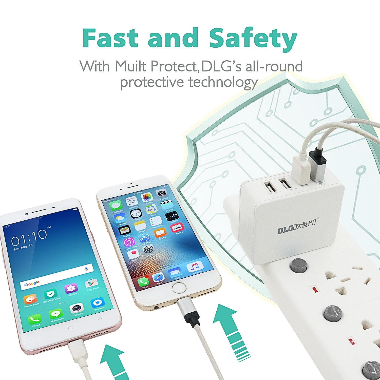 Dlg Qualcomm Certified Qc 30 Usb Wall Charger 4 Port Sony Xperia C Circuit Diagram Fast Charging Station With Quick Charge For Galaxy Lg Htc Z4