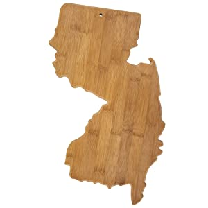 Totally Bamboo 20-7975NJ New Jersey State Shaped Bamboo Serving & Cutting Board,