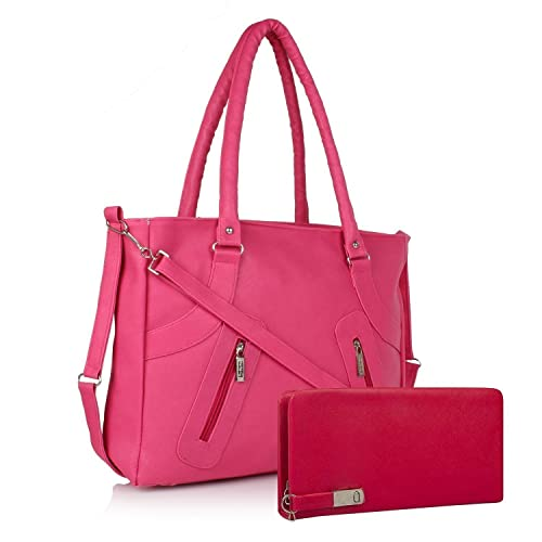 ef3562d2c3a SALEBOX Fashion Long Belt Women Leather Hand Bag with Wallet/Clutch Combo  Pink