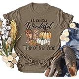 Bbrand Womens Halloween Pumpkin T-Shirt Thanksgiving Pumpkin Maple Leaf Graphic Tees Tops Fall Harvest Short Sleeves