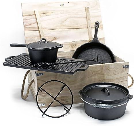 WilTec Horno holandés Set 6 Piezas Batería Cocina Hierro Fundido Accesorios Camping Utensilios Outdoor