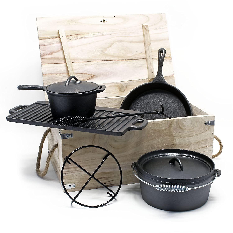 Wiltec Dutch Oven Set Gusseisen 6-TLG. Kochzubehör für Camping Outdoor