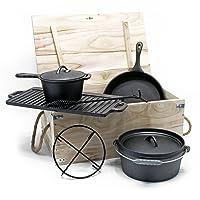 Wiltec Dutch Oven schwarz Gusseisen klein Firepot Camping Garten Picknick ✔ rund