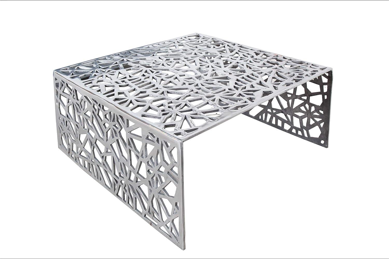 DuNord Design Couchtisch Wohnzimmertisch 60cm Aluminium Silber Design Sofatisch Beistelltisch