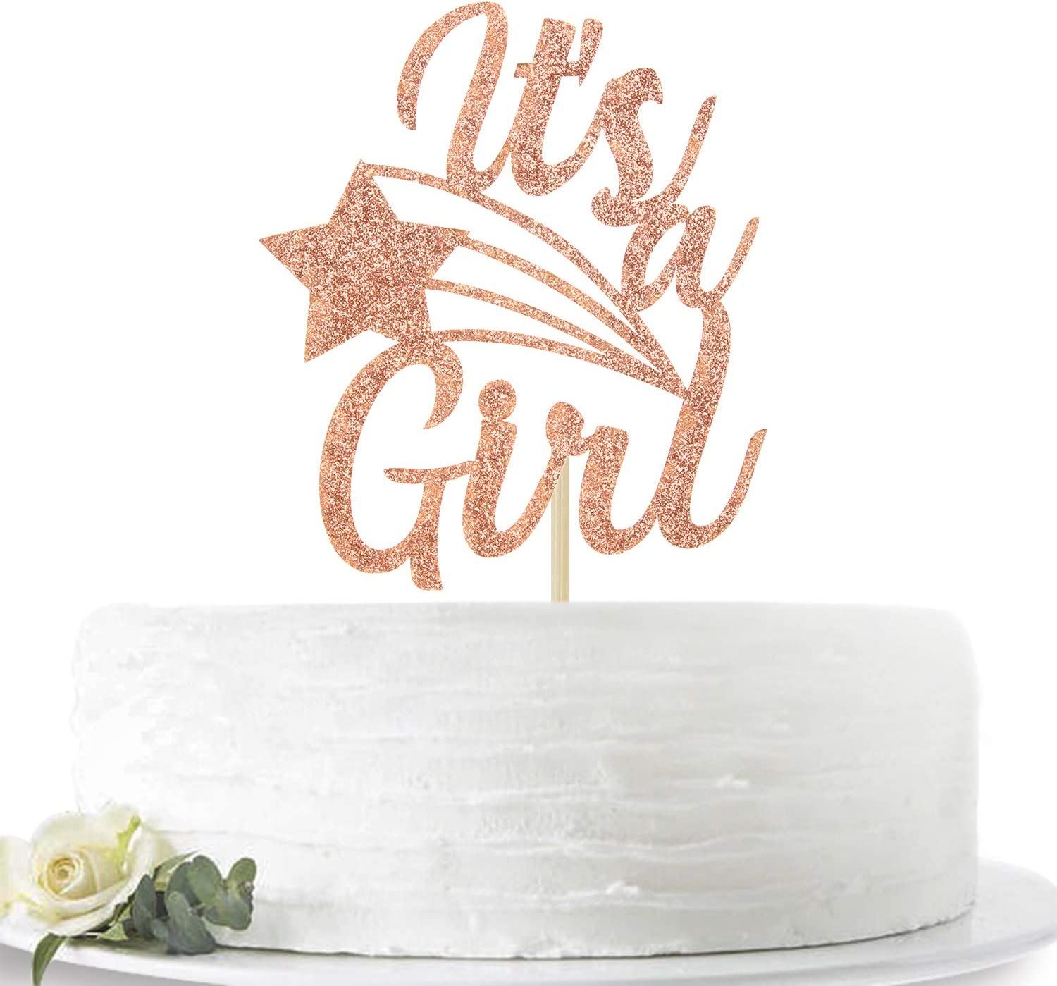 Pink Glittery It's a Girl Cake Topper for Baby Shower, Baby Gilr 1st 2nd 3rd Birthday, Sweet Baby Girl Decor, Gender Reveal Party Decoration Supplies