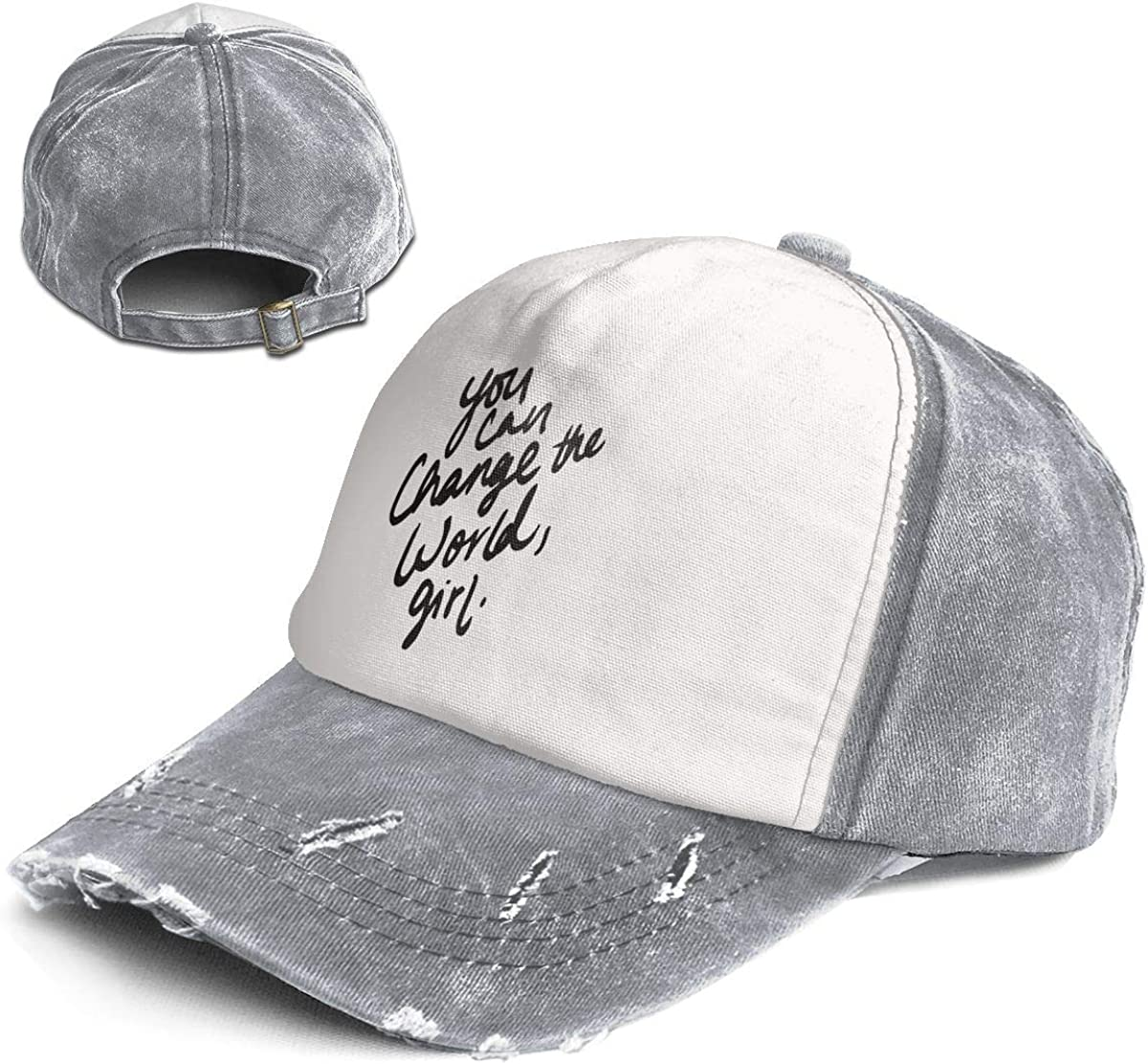Girl Multicolor Adjustable Baseball Cap Dad Hat Vintage General-Purpose You Can Change The World