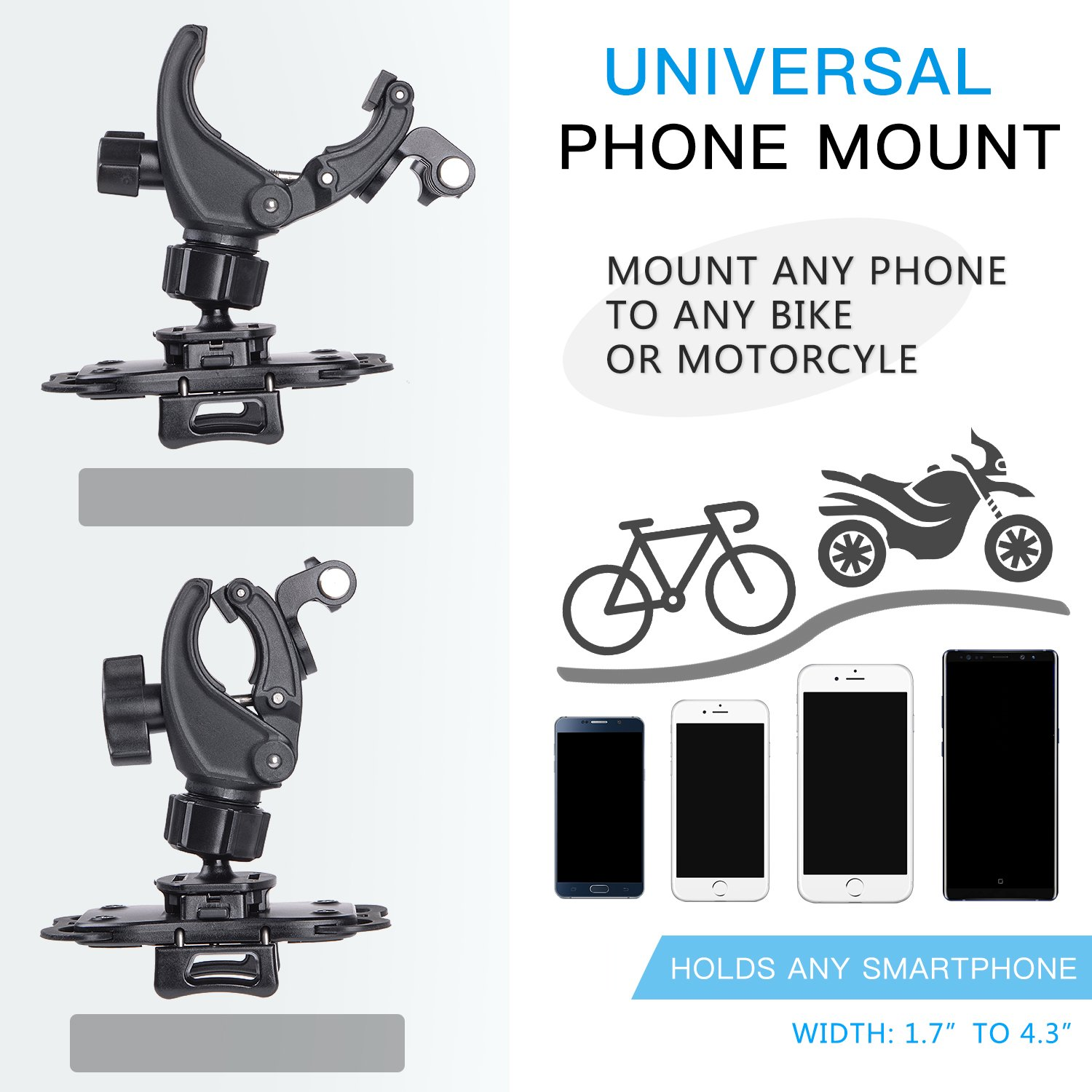 YELIN Bike Phone Mount Motorcycle Phone Holder Bike Camera Mount 2 in 1 Bicycle Holder Handlebar Clamp for Gopro Action Cam iPhone X 8 7 7 Plus 7s 6s Samsung Phone by YELIN (Image #5)