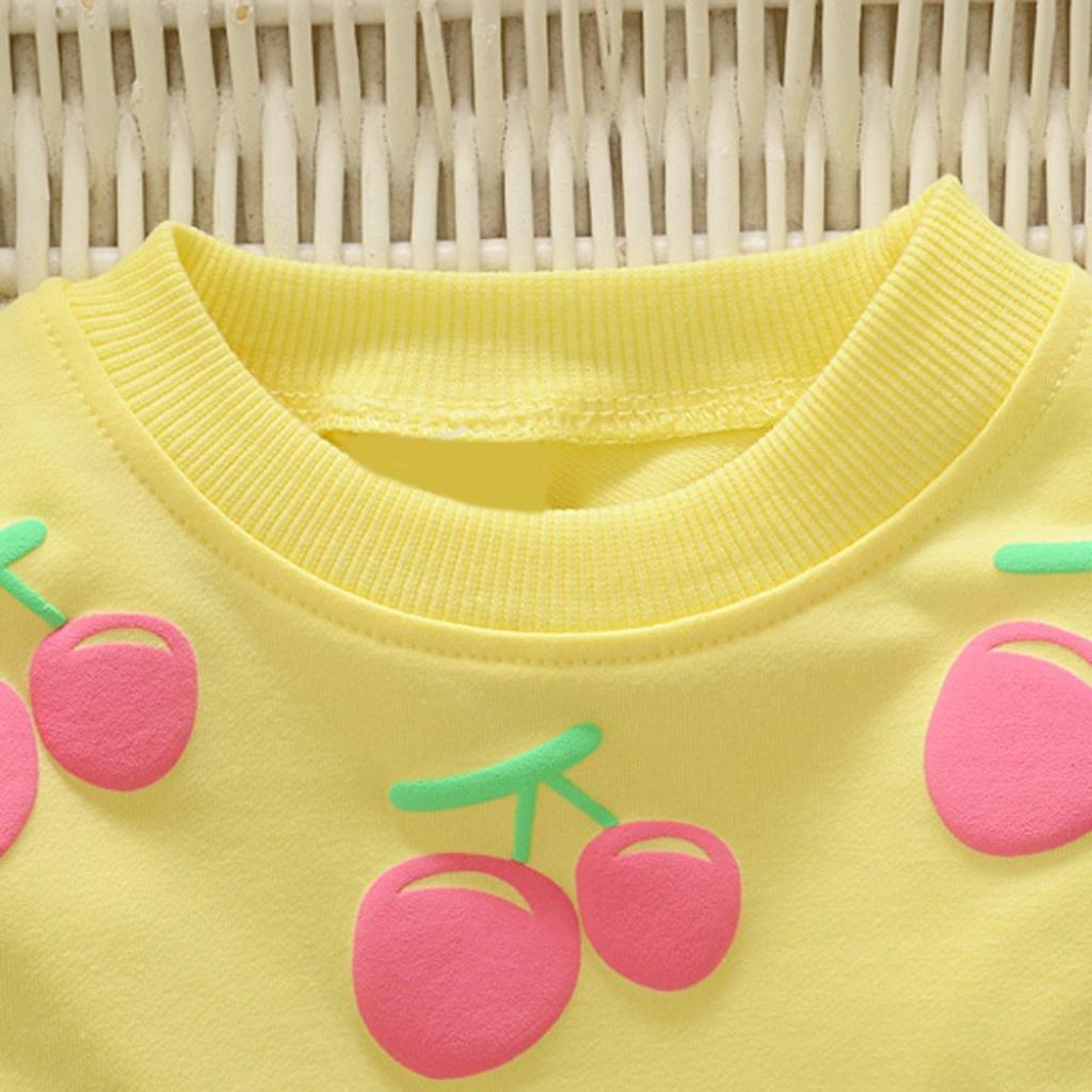 erthome Baby Kleidung Set Kleinkind Kinder M/ädchen Langarm Kirsche T-Shirt Pullover Tops