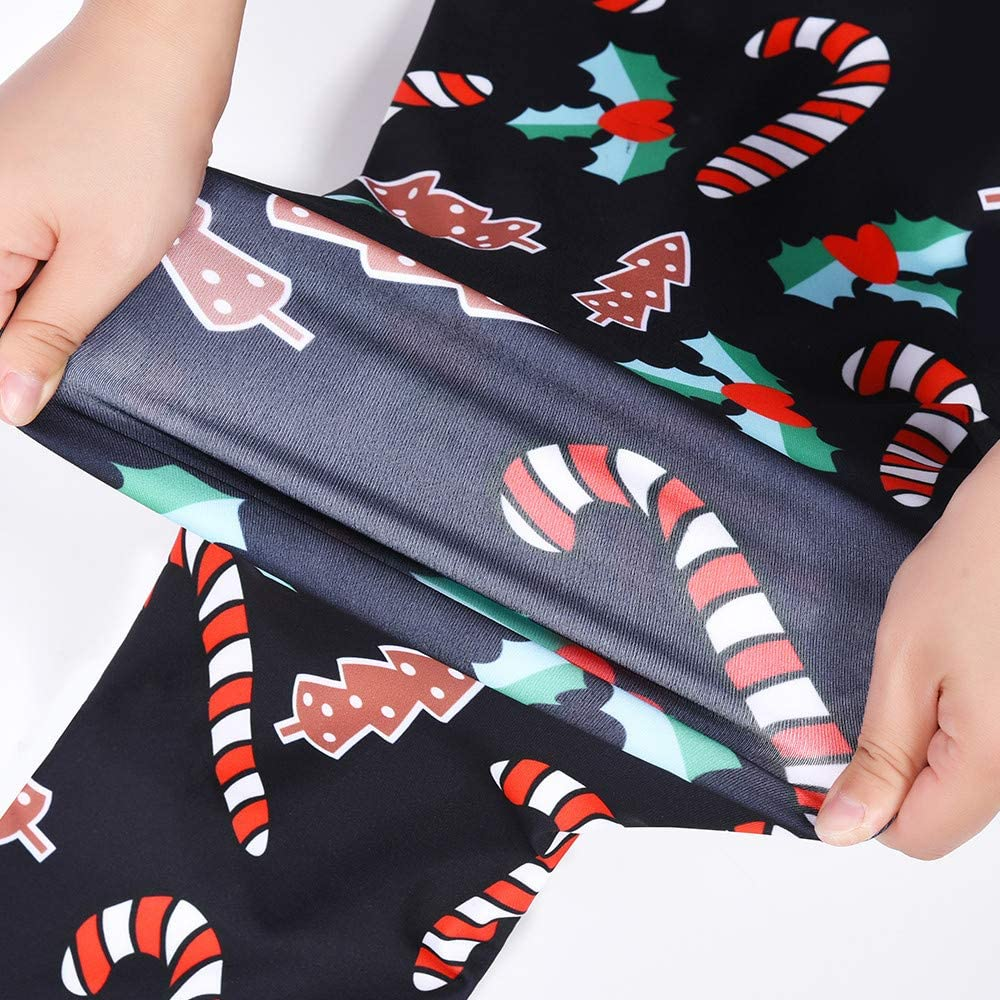Voberry@ Womens Chic Ugly Christmas Leggings Funny Xmas Candy Cane Fashion Leggings Graphic Printed Stretchy Tights Pants Christmas Costume