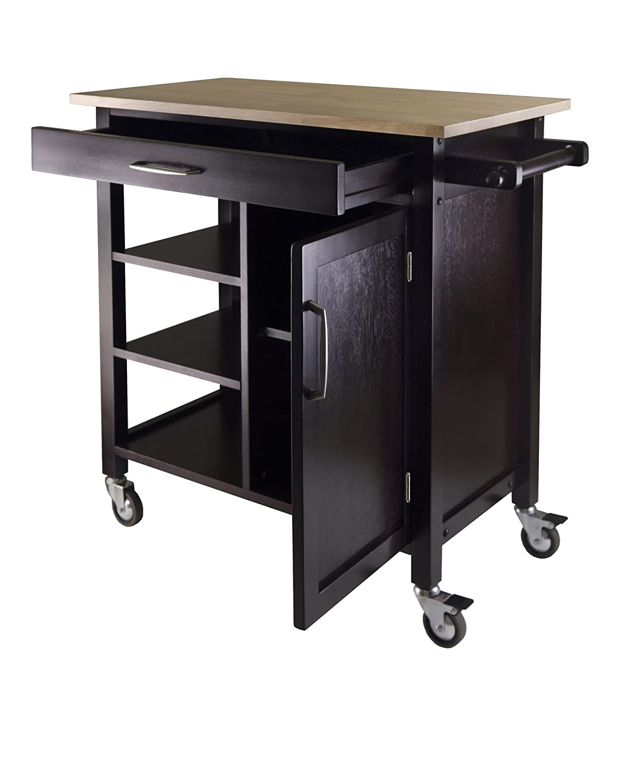 Compact Espresso Kitchen Cart With Wood Top