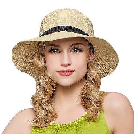 Fletion Donna Superficiale di Cappello di Paglia Spiaggia di Sabbia Sole  Cappelli Pieghevole Estate Sole Cappello e9c414cbf549